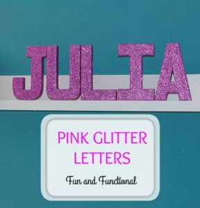 PAPER MACHE PINK GLITTER LETTERS