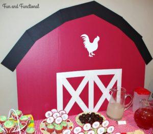 CARDBOARD BARN FOR BIRTHDAY PARTY