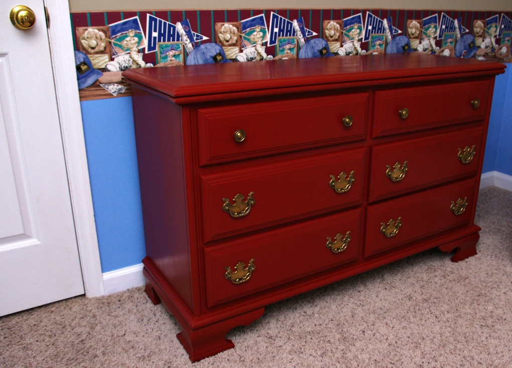 Baby, Boy, Nursery, Baseball, Dresser, Brick Red, General Finishes, Milk Paint, Baseball Room, Cleaning Hardware, Changing Table